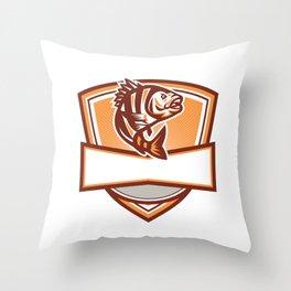 Sheepshead Fish Jumping Sunburst Crest Retro Throw Pillow
