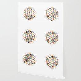 Flower of Life Retro Colors Wallpaper