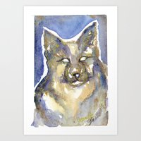 copper Art Prints featuring Copper by Bootsies Watercolor Kittys