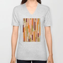 Retro Linear Autumnal Pattern Unisex V-Neck