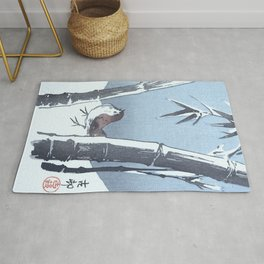 Sparrow and the Bamboo Tree - Vintage Japanese Woodblock Print Art Rug