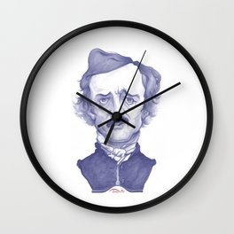 Edgar Allan Poe illustration Wall Clock