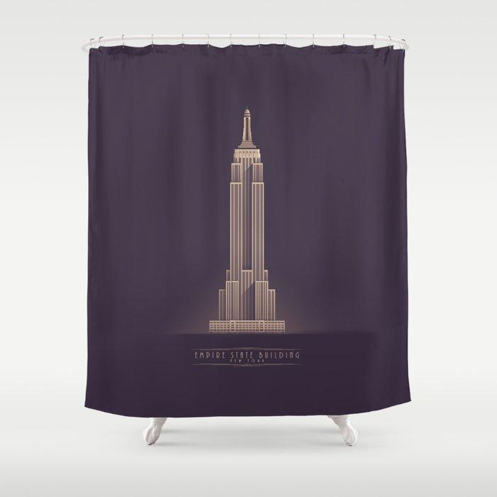 Empire State Building New York Art Deco - Vintage Dark Shower Curtain
