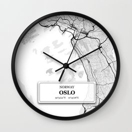 Oslo Norway City Map with GPS Coordinates Wall Clock