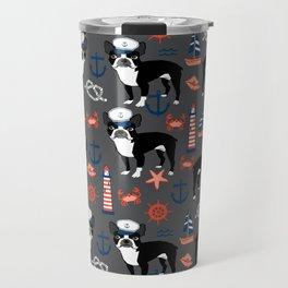 Boston Terrier nautical sailing lighthouse sailor pattern terriers dog breed Travel Mug