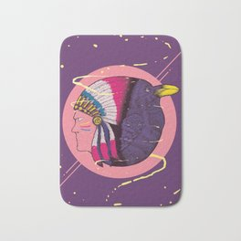 Connect to Time - Indian and Crow on a Timeless Journey Bath Mat