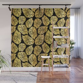Shiny Gold Leaves Wall Mural