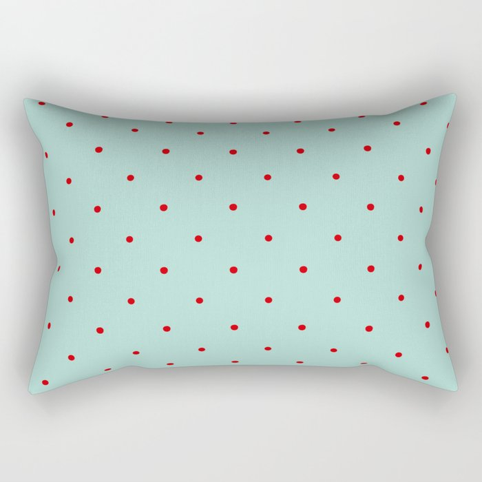 Blue with Red Dots Rectangular Pillow