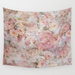 Vintage elegant blush pink collage floral typography Wall Tapestry