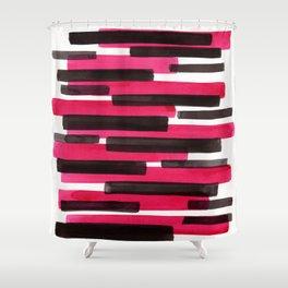 Magenta Primitive Stripes Mid Century Modern Minimalist Watercolor Gouache Painting Colorful Stripes Shower Curtain