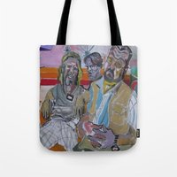 big lebowski Tote Bags featuring The Big Lebowski by Robert E. Richards