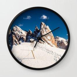 Italian Dolomites ready for winter season Wall Clock