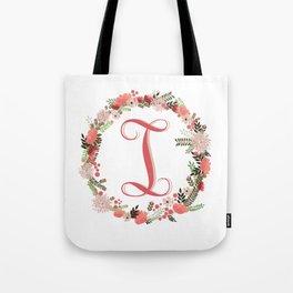 Personal monogram letter 'I' flower wreath Tote Bag