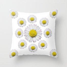 ALL WHITE SHASTA DAISY FLOWERS ART Throw Pillow