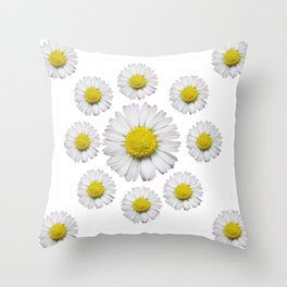 ALL WHITE SHASTA DAISY FLOWERS ART Throw Pillow