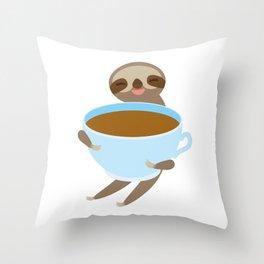 sloth & coffee 3 Throw Pillow
