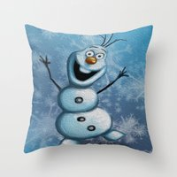 olaf Throw Pillows featuring Olaf by MandiMccl