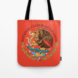 Close up of the Seal from the flag of Mexico on Adobe red background Tote Bag