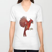 cardinal V-neck T-shirts featuring Cardinal by Jody Edwards Art
