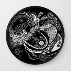 Spring tangle, black Wall Clock