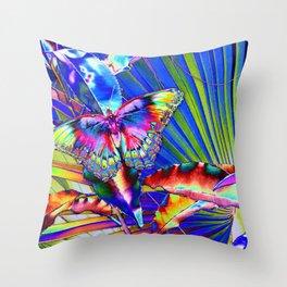Neon Pop Art Beautiful Butterfly Bonanza  Throw Pillow