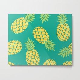 Yellow Pineapples on Teal Metal Print