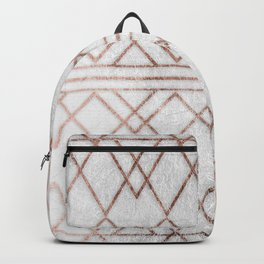 Chic & Elegant Faux Rose Gold Geometric Triangles Backpack