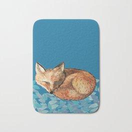 Fox and Teal Leaves Bath Mat