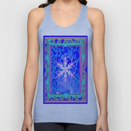 Blue Frozen Snowflake Abstract Art Unisex Tank Top