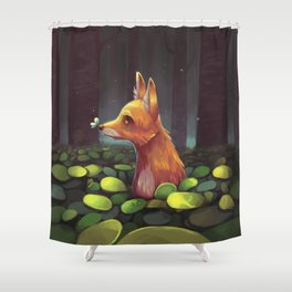 The Lonely Forest Fox Shower Curtain