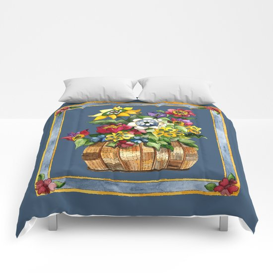 Happy Flowers With a Border Comforters