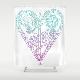 Equanimity / Heart / Pink Blue Shower Curtain