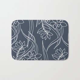 Floral Drawing in Blue Bath Mat