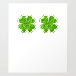 Funny Irish Shamrock Bra Clover Saint Patrick's Day Art Print