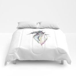 Kingfisher 1h. Full color plus black borders with white background-(Red eyes series) Comforters