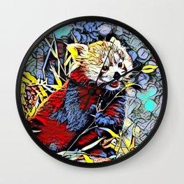 Color Kick - red Panda Wall Clock