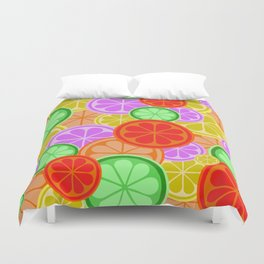 Citrus Explosion - A Pattern of Many Fruits from the Citrus Family Duvet Cover
