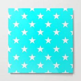 Stars (White/Aqua Cyan) Metal Print