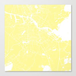 Amsterdam Yellow on White Street Map Canvas Print