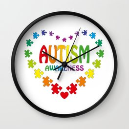 Autism Shirt in Shape of Heart made from Puzzle Pieces Tee Wall Clock