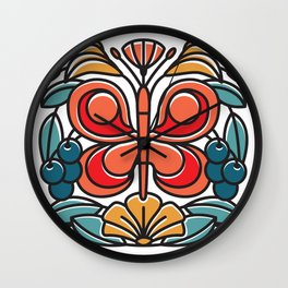 Butterfly tile Wall Clock