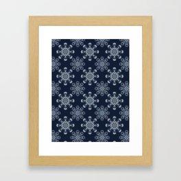 Indigo Blue Feather Mandala Hand Drawn Framed Art Print