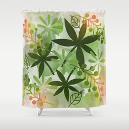 Peaches and Greens Shower Curtain