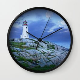 Lighthouse at Peggy's Cove in the Moonlight Wall Clock