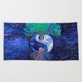 Tree of Life Yin Yang Earth Space Beach Towel