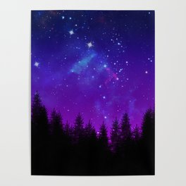 Galaxy Over the Forest at Night Poster