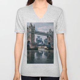 London Bridge Tower (Color) Unisex V-Neck