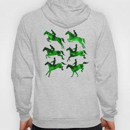Watercolor Showjumping Horses (Green) Hoody
