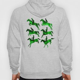 Watercolor Showjumping Horses (Green) Hoody