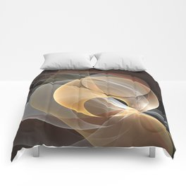 Brown, Beige And Gray Abstract Fractals Art Comforters